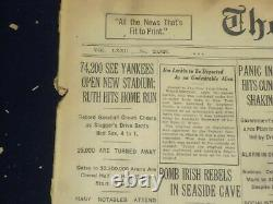 1923 April 19 New York Times-yankee Stadium Opens -gehrig Strikes Out 17-nt 8357