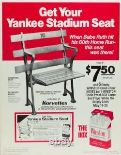 1923 NEW YORK YANKEE STADIUM SEATS Jeter Mantle Gehrig DiMaggio Ruth Mattingly