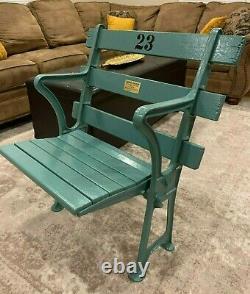 1923 New York Yankee Stadium Seat Chair With Plaque In Original Seafoam Green