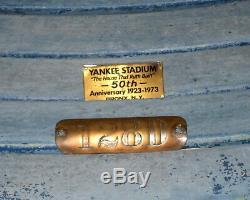 1923 ORIGINAL NEW YORK YANKEES STADIUM SEAT With 50TH ANNIV & ORIG SEAT BOX PLAQUE