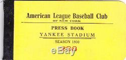 1930 New York Yankee Stadium Press Book #298 (No Tickets)