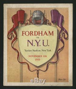 1933 Fordham Nyu Football Program New York Yankees Stadium Vince Lombardi Frosh