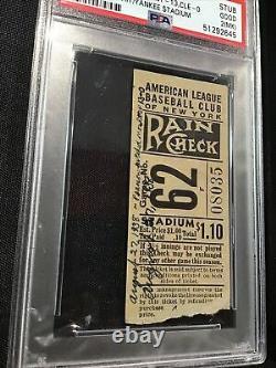 1938 Monte Pearson 1st No Hit Game Yankee Stadium New York Yankees PSA 2 Ticket