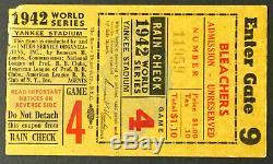 1942 World Series Game 4 Ticket Yankees Stadium New York v St. Louis Cardinals