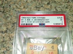 1949 New York Yankees Baseball Ticket Stub Joe DiMaggio Appreciation Stadium Day