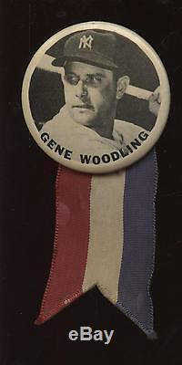 1950's PM10 Stadium Pin With Ribbon Gene Woodling New York Yankees EX-MT