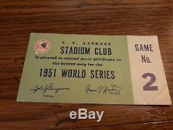 1951 World Series New York Yankees Stadium Club Pass Game 2 Mickey Mantle injury