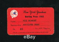 1955 New York Yankees Associated Press Baseball Press Pass for Yankee Stadium