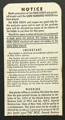 1957 World Series Game 1 Ticket Yankee Stadium New York vs Milwaukee Braves MLB