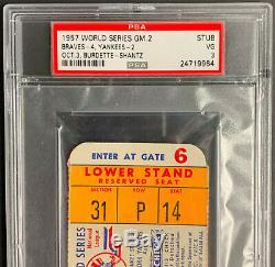 1957 World Series Game 2 Ticket Yankee Stadium New York vs Milwaukee PSA 3 VG