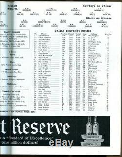 1960 New York Giants v Dallas Cowboys 1st Year Program 12/4 Yankee Stadium Ex+