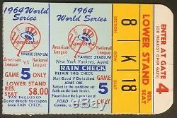 1964 World Series Ticket Game 5 Yankee Stadium New York St. Louis Cardinals MLB
