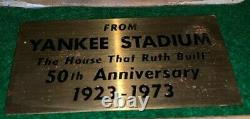 1973 New York Yankees Stadium 50th Anniversary Brass Seat Plaque Aisle # Plate