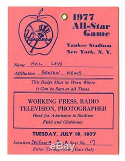 1977 All-star Game Press Passnew York Yankeeshal Levyyankee Stadium
