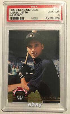 1993 Stadium Club Murphy Derek Jeter PSA 10 New York Yankees Rookie