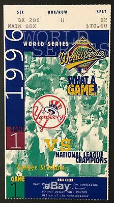 1996 MLB Baseball World Series Gae 1 Ticket Yankee Stadium New York Jeter Debut