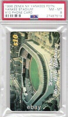 1996 Zenex New York Yankees Foundation /1000 PSA 8 Stadium $10 Phone Card Rare