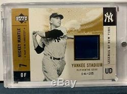 2001 Upper Deck Legends of New York Mickey Mantle Auth Seat Yankee Stadium 14/25