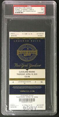 2009 New York Yankees 1st Opener Yankee Stadium vs Indians Graded Ticket PSA 9