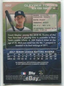 2018 Gleyber Torres Topps Stadium Club AUTO Autograph Rc New York Yankees NRMT