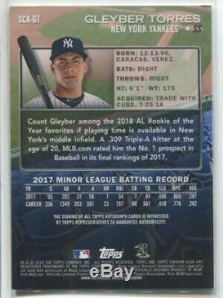2018 Gleyber Torres Topps Stadium Club AUTO Autograph Rc New York Yankees NRMT