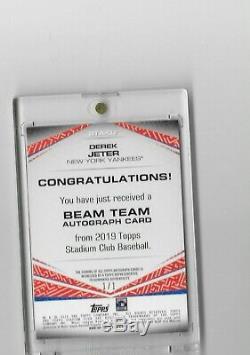 2019 Stadium Club Beam Team New York Yankees Derek Jeter 1/1 Made Autograph