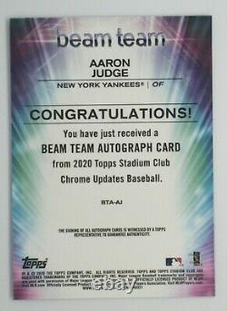 2020 Topps Stadium Club Chrome Beam Team Auto Aaron Judge New York Yankees 9/15