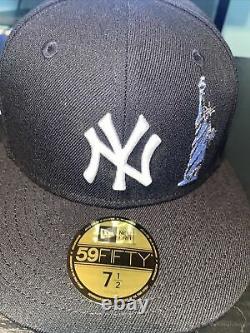 7 1/2 new york yankees black yankee stadium icy blue bottom fitted hat