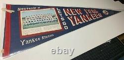 Amazing Vintage 1960's New York Yankees Team Photo Stadium Souvenir Pennant
