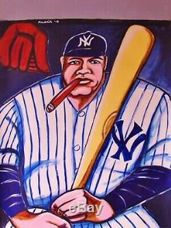 BABE RUTH PRINT poster new york yankees stadium baseball bat uniform cigar glove