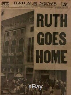 Babe Ruth DEATH 1948 Funeral Yankees Stadium newspaper NEW YORK DAILY NEWS
