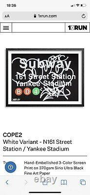 Cope2 Lithographie Rehaussée A La Main Subway Yankee Stadium New York