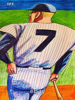 MICKEY MANTLE PRINT poster baseball new york yankees stadium world series bat