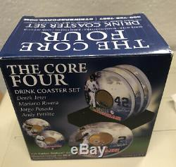 MLB New York Yankees Drink Coaster Set (4) The Core Four with Yankee Stadium Dirt