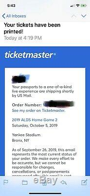 NY Yankees ALDS Game 2 Sat 10/5 2 Tickets Yankee Stadium Sec 407A Row 9