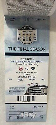 New York Yankees 2008 Final Season at Yankee Stadium Game-Used Baseball & Ticket