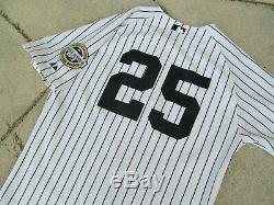 New York Yankees #25 2009 Stadium Majestic 6200 Pinstripe Jersey Men 44 Teixeira