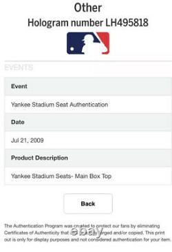 New York Yankees Derek Jeter #2 Game Used Stadium Seat Back Ruth Mantle L@@K