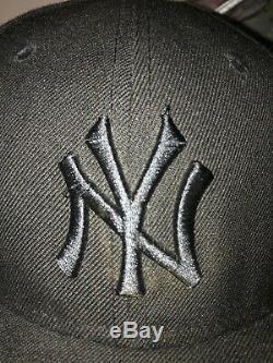 New York Yankees Era Fitted Hat Jay Z All Black Everything Yankee Stadium Rare