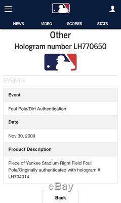 New York Yankees Game Used Foul Pole Piece MLB Authenticated Yankee Stadium 2008
