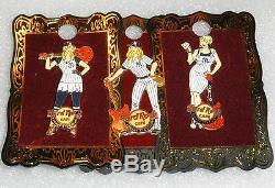 New York Yankees Hard Rock Cafe 3- Pin Set Blonde Yankee Stadium Baseball Girls