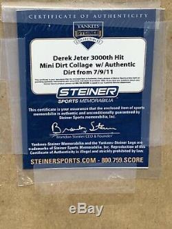 New York Yankees Lineup Card 7/9/11 3000 Hits Jeter STEINER With Stadium Dirt