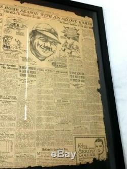New York Yankees Red Sox 1924 Opening Day Stadium Babe Ruth Newspaper Framed