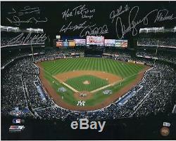 New York Yankees Signed 16 x 20 2009 WS G6 Yankee Stadium Photo with 9 Sigs & Insc