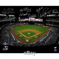 New York Yankees Signed 2009 WS G6 Stadium Shot 16 x 20 Photo & Insc with 9 Sigs