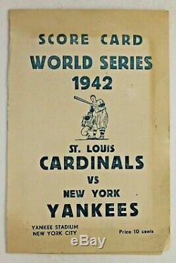 New York Yankees / St Louis Cardinals 1942 World Series ScoreCard Yankee Stadium
