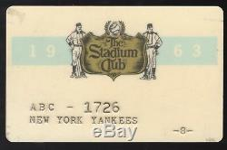 New York Yankees The Stadium Club 1963 Season Pass Mantle Maris