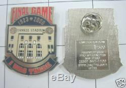 New York Yankees Yankee Stadium Final Game I Was There Pin 9/21/08 Only 500 Dj