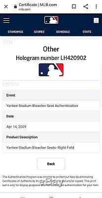New York Yankees Yankee Stadium Game Used Bleacher Seats Steiner COA #16 #17 MLB