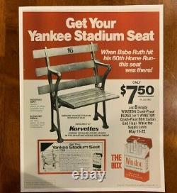 Original New York Yankee Stadium 50th Anniversary Brass Seat Plaque Complete